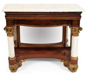 Classical marble top pier table ca. 1820, New York or