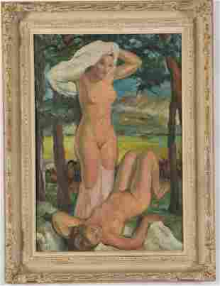 Early 20th century post-impressionist painting of nudes