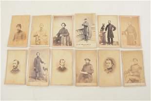 Lot of 12 antique military Civil War CDV photographs.