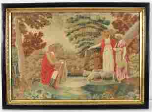 19th century English school embroidered silk and wool
