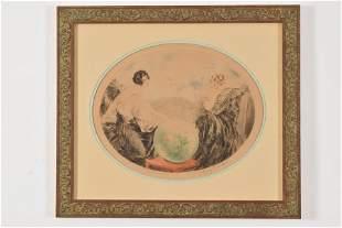 Louis Icart original aquatint etching. Oval format.