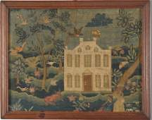 1757 probably Boston embroidered needlework picture