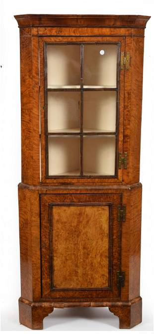 Georgian burl walnut diminutive corner cabinet. Glazed