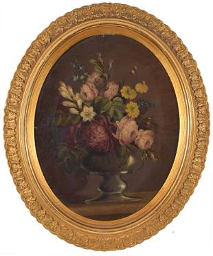 Thomas Hill. American. Oval floral still life painting