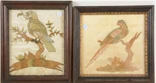 2 18th century English school bird needlework and silk