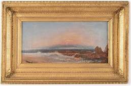 19th century American school seascape with pink sunset.