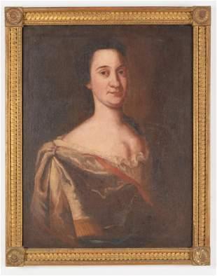 18th Century American School portrait of a Woman,