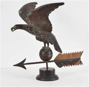 Early 20th century copper eagle on orb weathervane.