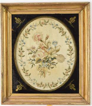 18th century Anglo-American school oval format floral