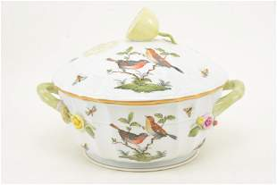 Herend porcelain covered dish with citrus finial, bird