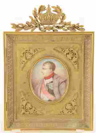 Miniature portrait painting of Napoleon in uniform with