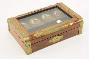 19th/20th century glass covered playing card box. Brass