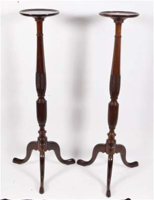 Pair of Queen Anne style mahogany vase stands, mid-20th