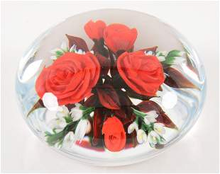 Rick Ayotte art glass paperweight with red roses
