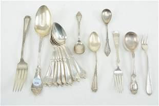 19th/20th century sterling silver utensils. 16 piece