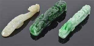 Lot of 3 Chinese jade carved belt buckles. 1) 19th
