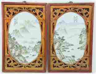 Pair of oval porcelain plaques. China. Early 20th