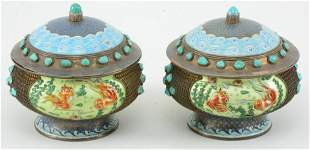 Pair of silver covered boxes. China. 19th/20th century.