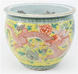 19th century Chinese yellow ground porcelain fish bowl