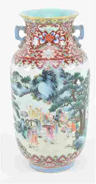 Porcelain vase. China. 20th century. Cylindrical form