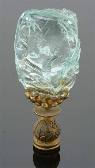19th century Chinese carved aquamarine pendant mounted