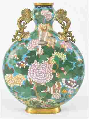 Cloisonne vase. China. Ca. 1900. Pilgrim flask form.