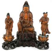 18th century Chinese finely carved and gilt wood