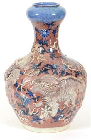 """19th century Asian porcelain vase. """"Garlic mouth"""" type."""