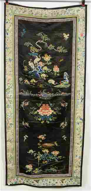 19th century Chinese large silk embroidered black