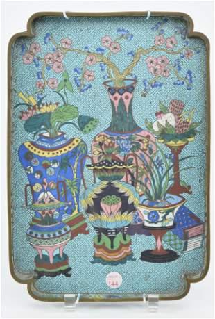 Cloisonne tray. China. Ca. 1900. Rectangular shape.