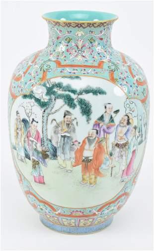 Porcelain vase. China. Early 20th century. Famille rose