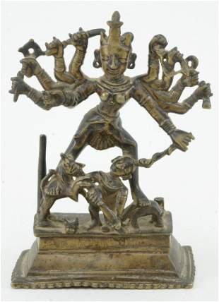 Early bronze image. India. Figure of Durga. 7.75 x