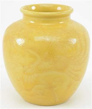 Stoneware vase. China. Ca. 1920. Oviform shape. Body