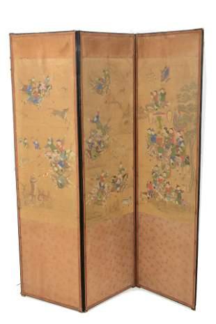 3 panel screen. Korean. 18th/19th century. Hunt scene.