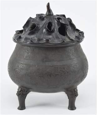 Bronze censer. China. Ming period. Oval shape.