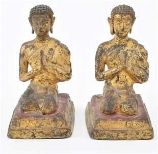 Pair of 17th/18th century gilt bronze Buddha figures.