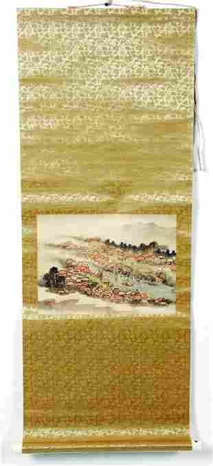 Hanging scroll. Ink and colors on paper. Scene of a