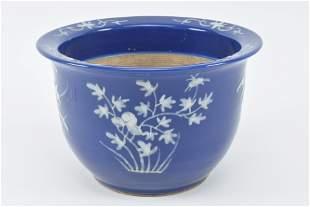 19th century Chinese blue ground pate-sur-pate white