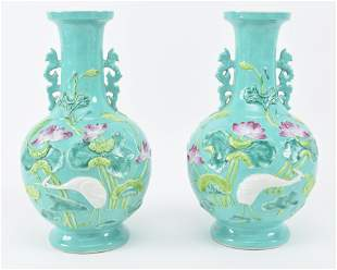 Pair of early 20th century Chinese turquoise ground
