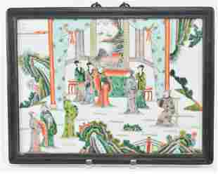 Porcelain plaque. China. Early 20th century. Famille