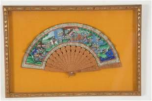 Chinese export fan. Ca. 1870. Figures of mandarins in