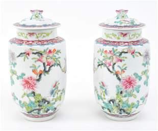 Pair of porcelain covered jars. China. Ca. 1930.