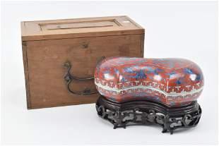 Porcelain box. China. 19th century. Ingot shaped.