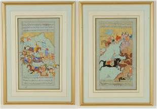 2 Persian miniature paintings. 20th century. Historical