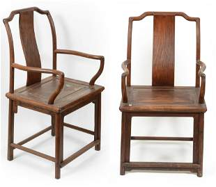 Pair of Rosewood Chinese armchairs. 19th century.