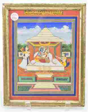 Miniature painting. India. 19th century. Ink colors and