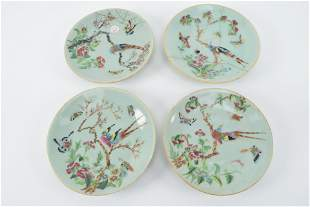 4 porcelain plates. Chinese export ware. 19th century.