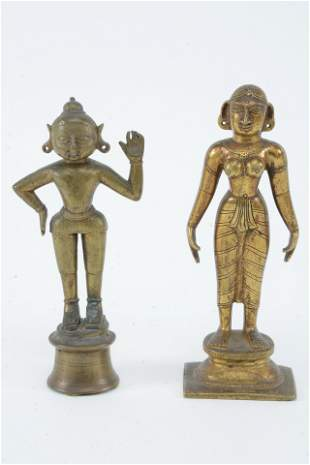 2 bronze figures. India. 19th/early 20th century.