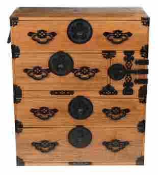 Japanese tansu chest. 19th/20th century. Iron mounts. 2
