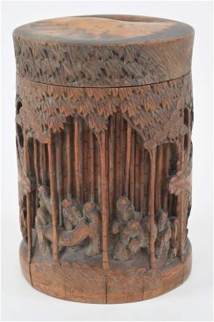 Carved bamboo box and cover. China. Early 20th century.